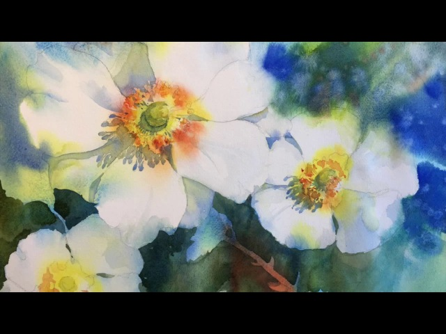 Negative Painting with Watercolor: White Blossoms