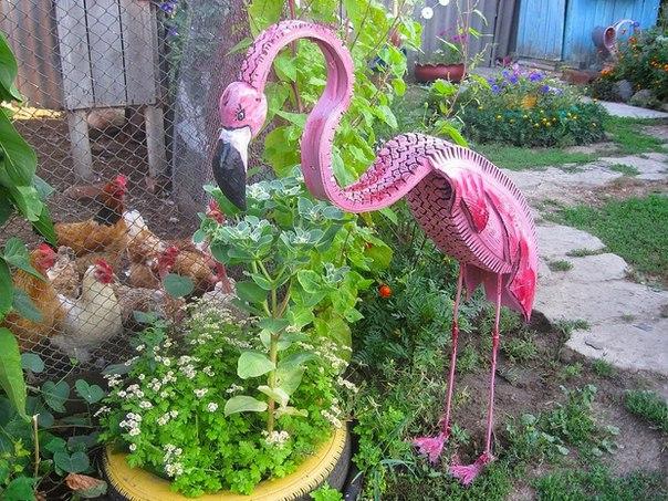 Фламинго из шин с пошаговым фото