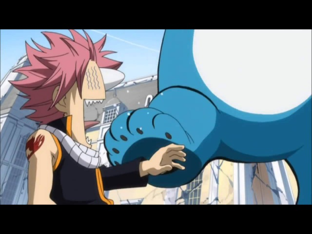 Fairy Tail funny moment- Happy steps on Natsu English sub