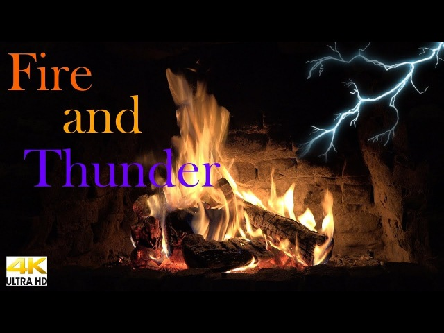 Crackling Fireplace with Heavy Thunder Sounds (4K - Ultra HD)