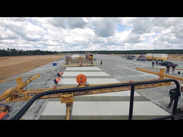 Строительство новой взлетно-посадочной полосы. Минск.