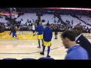 Steph Curry pregame routine including NOLA shot and full-court heave at Oracle Arena
