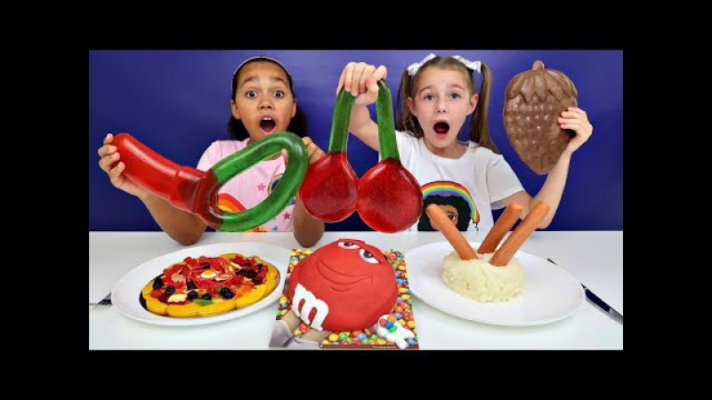Real Food VS Gummy Food! Gross Giant Candy Challenge - Daddy VS Mommy!!