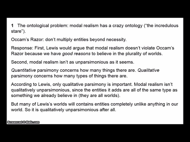 Modal Realism 3 Objections