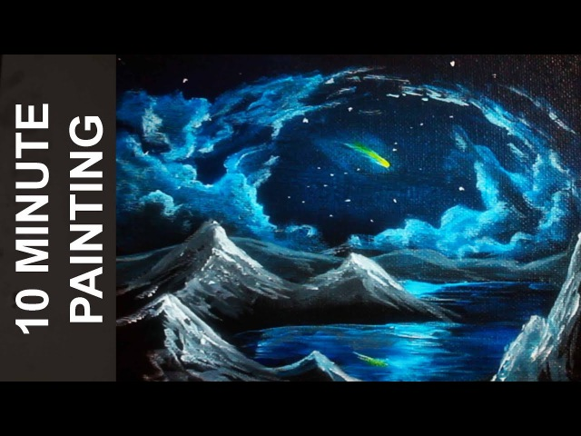 Painting A Starry Night Sky and Moonlit Clouds with Acrylics in 10 Minutes!