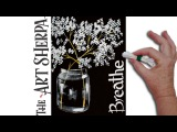Baby's Breath and Mason Jar Q Tip Acrylic Painting for Beginners tutorial
