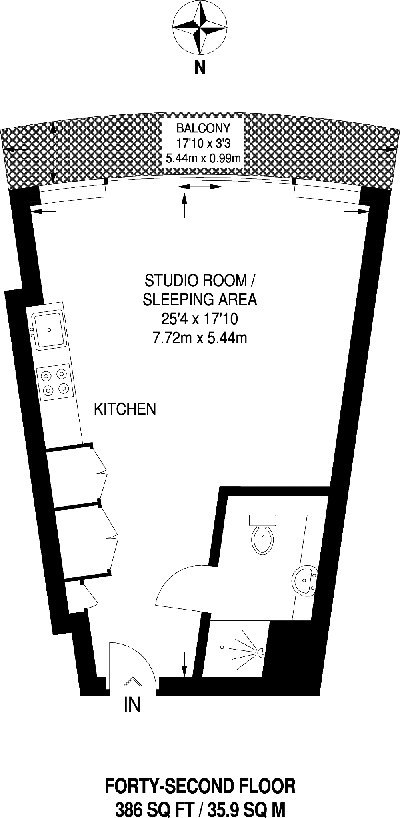 Квартира-студия почти 36 м в Лондоне.