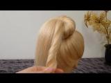 Лёгкая причёска самой себе на каждый день.Пучок из волос.Пучок с бубликом и хвостиком внутри