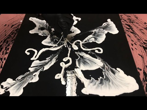 Fluid Painting Extreme String Technique Acrylic Pouring BLACK and WHITE Please Share and Subscribe!
