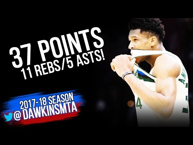 Giannis Antetokounmpo Full Highlights 2018.3.19 Milwaukee Bucks at Cavs - 37-11-5! | FreeDawkins
