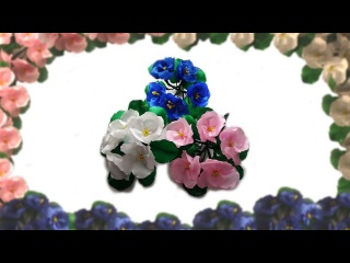 Фиалка из атласных лент. Канзаши. МК. Violet from satin ribbons. Kanzashi. MK.