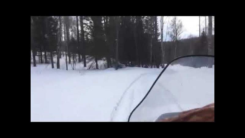 Голый охотник на снегоходе