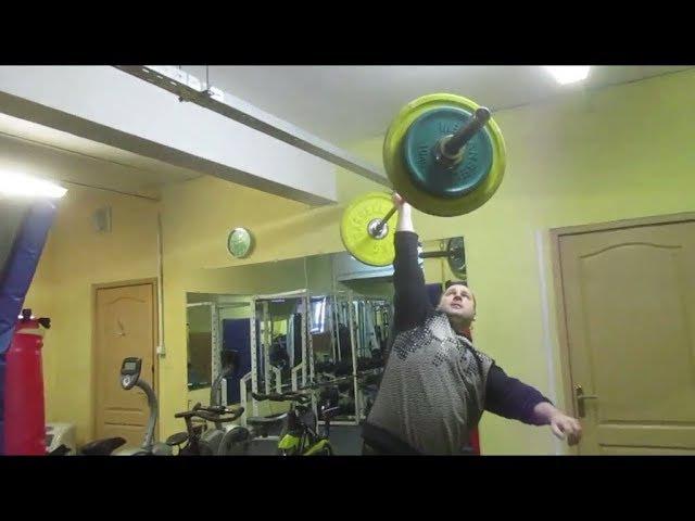 Штанга 73кг на бицепс читингом одной рукойшвунг.73kg barbell one hand cheat biceps curlpush press
