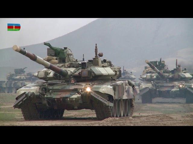 Təlimə cəlb edilmiş tank hərbi hissələri tapşırıqları yerinə yetirirlər - 13.03.2018