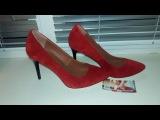 Лодочки YOUR STEP 35-1 красный замш черный каблук