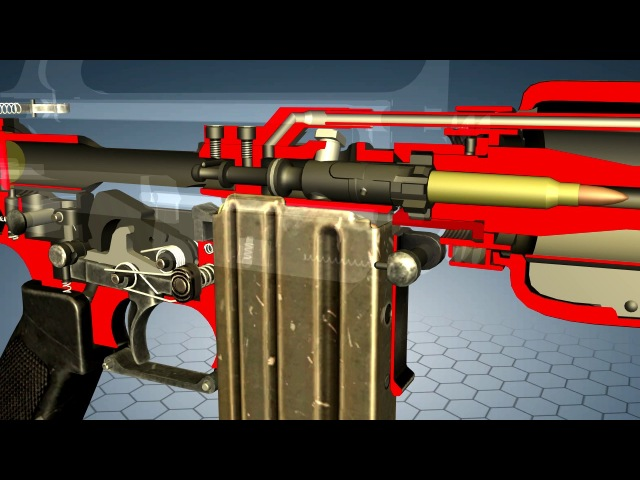 How does M16 work - 3D model animation