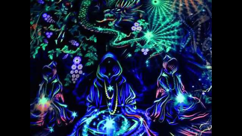 Tea Master Dragon Fluorescent Psychedelic Backdrop Visionary Artwork