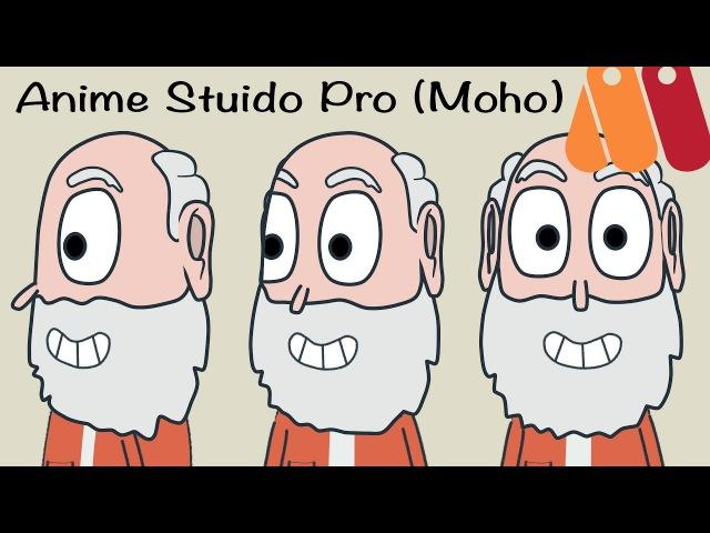 Быстрая анимация поворота головы разворота персонажа в Anime Studio Pro Moho