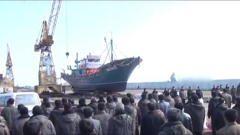 Спущено на воду судно Хвангымхэ ТВ КНДР