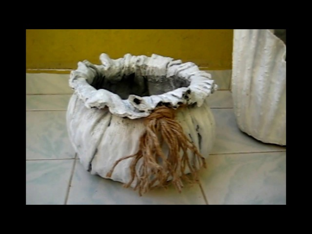 Kumaşla Beton Saksı Yapımı-2 Kolay ve İlginç Yöntem