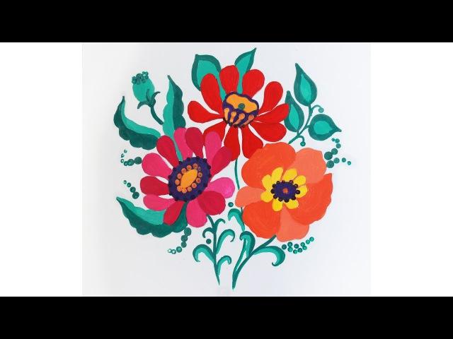 декоративные цветы гуашью