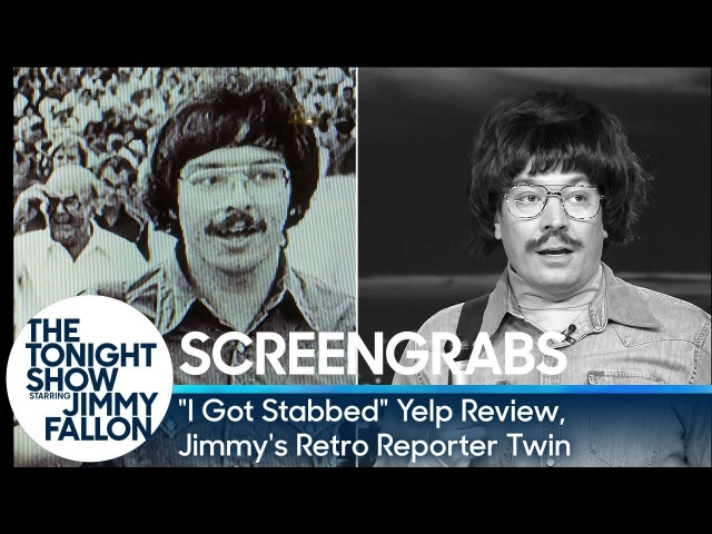 Screengrabs: I Got Stabbed Yelp Review, Jimmy's Retro Reporter Twin