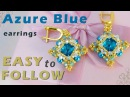 Tutorial Azure Blue earrings with 12 mm rivolis