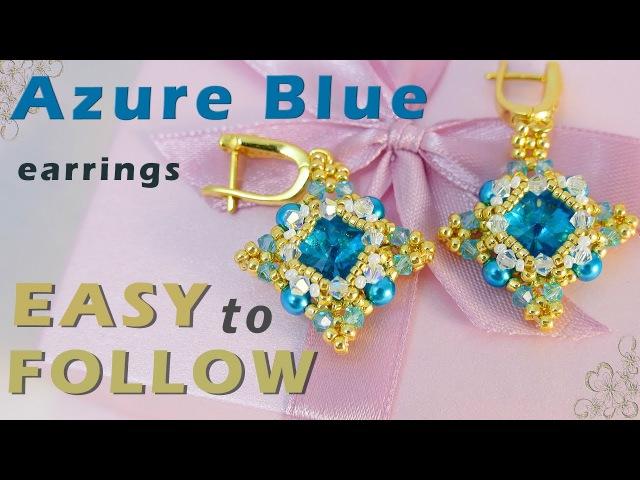 Tutorial Azure Blue earrings with 12 mm rivolis