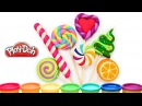 Лепка Радужные Леденцы Конфеты Как слепить Lollipop из пластилина плей до Видео Уро ...