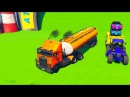 Трактор и джип, пожарная машина Мультик для маленьких