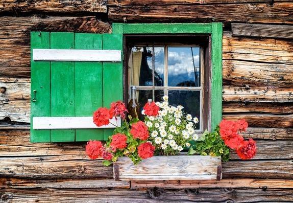Оформление цветами в ставнях