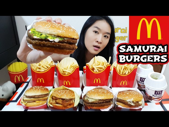 MCDONALD'S SAMURAI BURGER! Seaweed Fries, Matcha McFlurry, Big Mac | Eating Show Mukbang Food Review