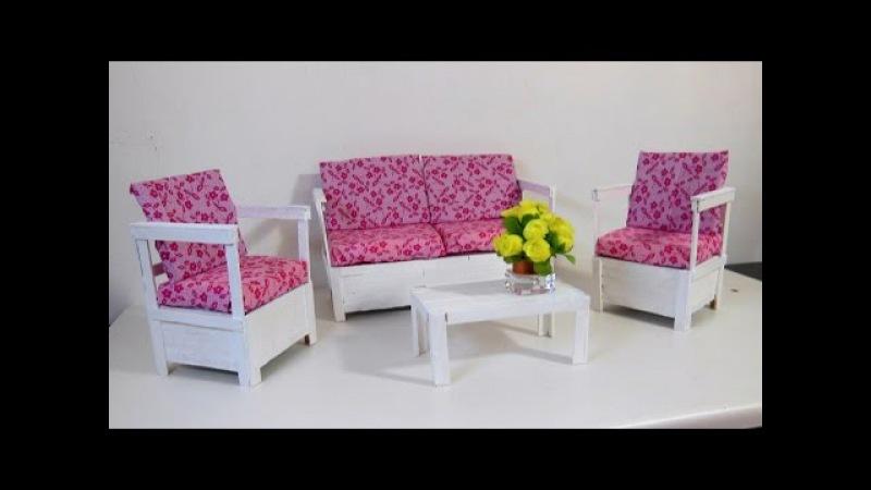 Sofá Rústico com Palitos para Barbie DIY