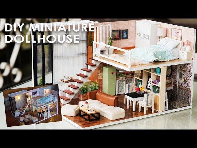 DIY Miniature Dollhouse FULL Set - Bedroom, Kitchen, Living Room and Bathroom