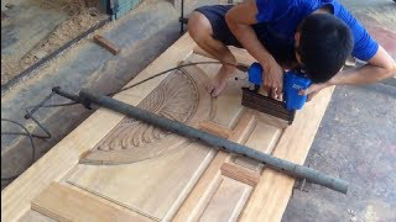 Amazing Technique Smart Woodworking Skillful - Building And Assemble A Big Front Door Beautiful