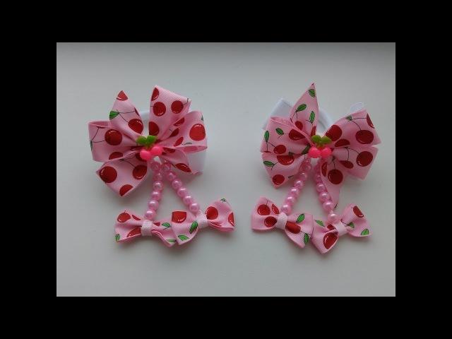 Бантики Вишенки из репсовых лент МК Канзаши Bows Cherries from REP ribbons Kanzashi MK