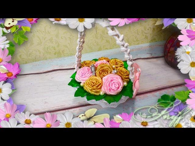 Корзинка с цветами Подарок на 8 марта своими руками Цветы канзаши