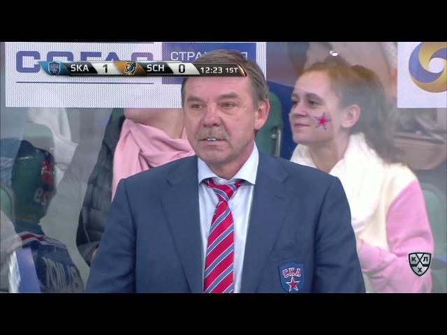 Сергей Плотников молниеностным броском поражает ворота Шикина
