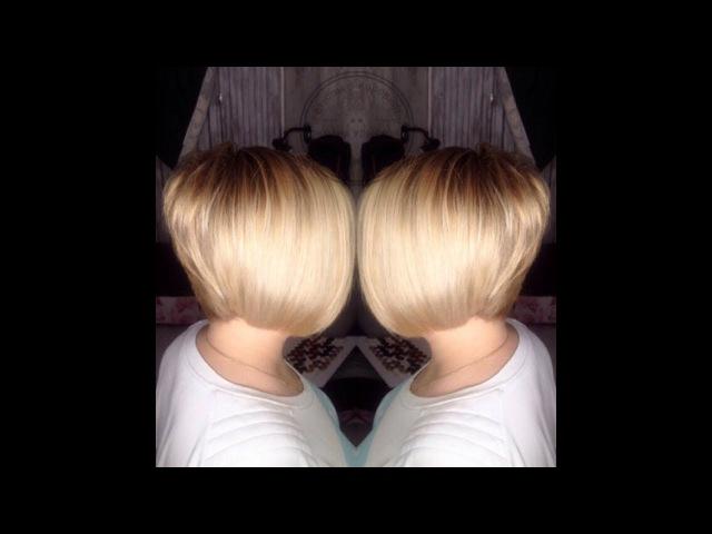 Окрашивание волос в бежевый блонд / стрижка волос.