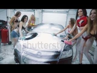 Stock-footage-beautiful-sexy-girls-in-bikinis-and-foam-washing-machine