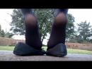 Ножки в колготках и балетках на улице Ballet Flat Pantyhose