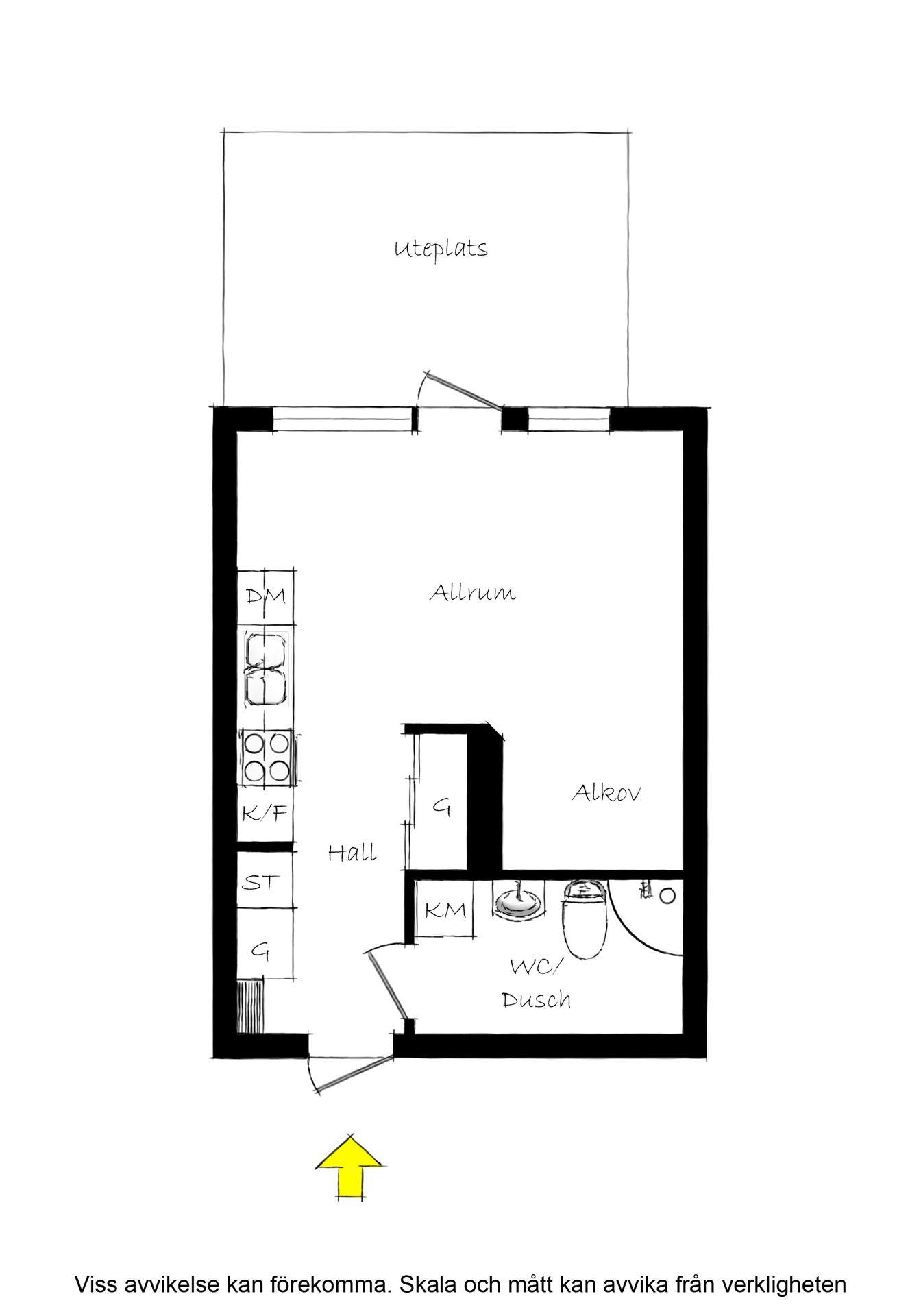 Светлый скандинавский интерьер квартиры-студии 34 м.
