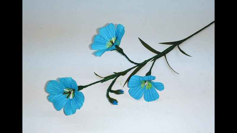 How to make Crepe paper flowers Blue Flax / Linum Perenne (flower 263)