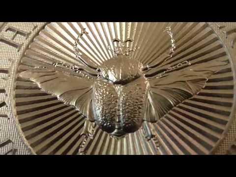 Вся серия в сборе, шестой и последний серебряный жук, Жук Голиаф, вес 2 унции(62,2гр.), проба 999.