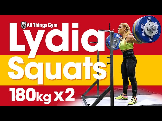 Lydia Valentin Heavy Squat Session (180kg x2!) Hang Snatches 2017 Worlds Training Hall