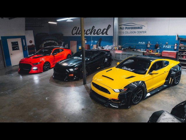 Clinched wide body Mustangs prepping for SEMA 2017 PAZI Body workshop