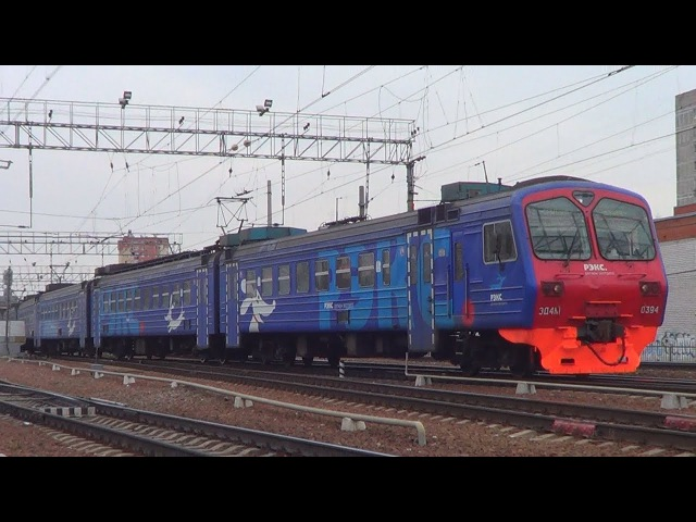Электропоезд ЭД4М 0394 Рэкс резервом отправляется со станции Болшево