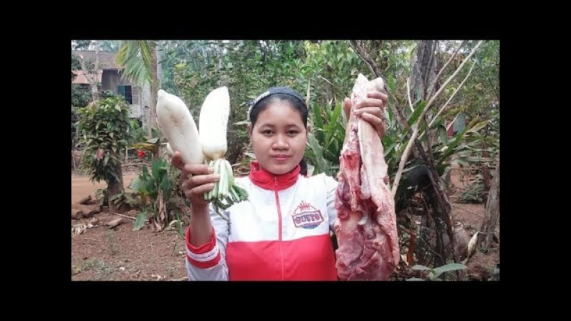 Awesome Cooking White Radish W/ Pork Delicious Recipe - Cook Pork Recipes - Village Food Factory