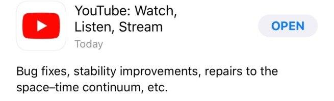 Администрация YouTube решила, что багфиксы никто не читает и пошутили