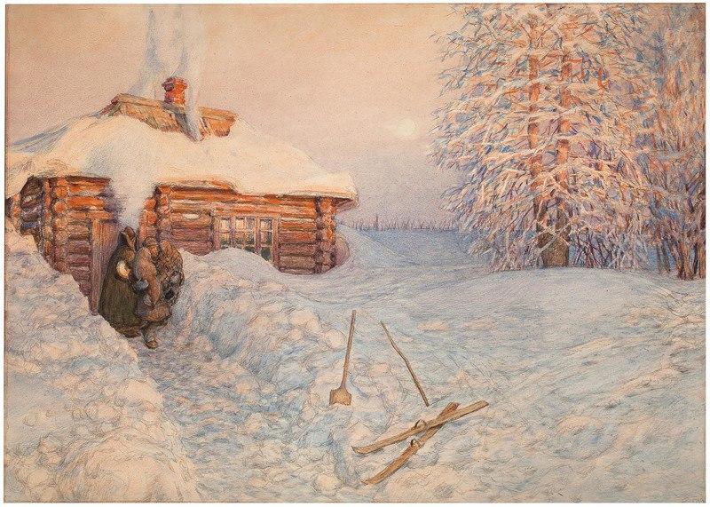 Аполлинарий Васнецов. Баня зимой
